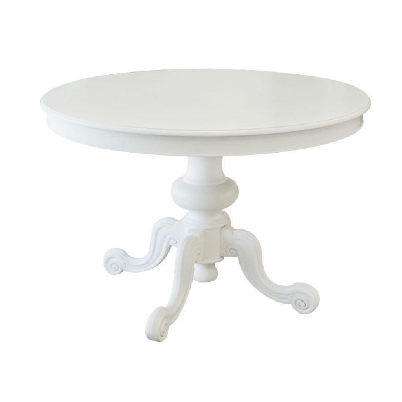 Tavolo Tondo Laccato Bianco.Tavolo Tondo Shabby Chic Allungabile In Legno Con Gamba Centrale