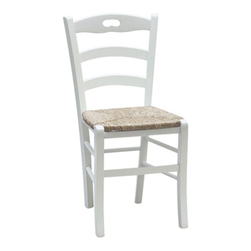 Sedute Per Sedie Di Legno.Set Sedie In Legno Shabby Chic Bianco Mod Miky Seduta Paglia