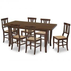 Ausziehbarer Nussbaumtisch + 4 Stühle