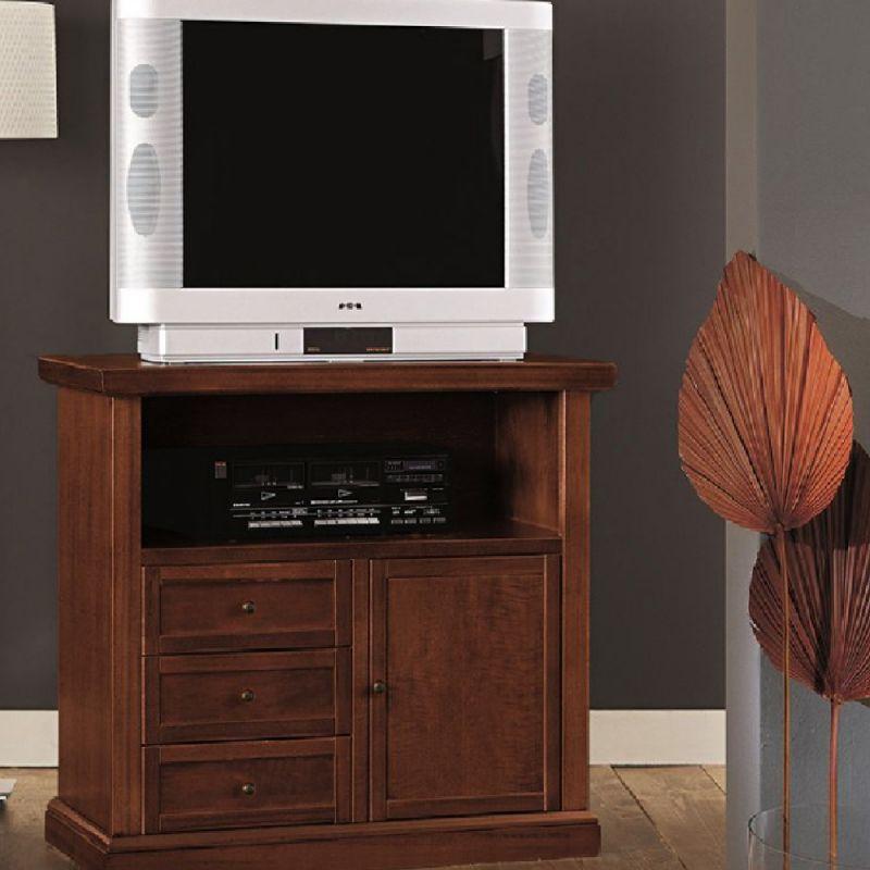 Porta Tv Legno Scuro.Mobile Porta Tv In Legno Arte Povera Noce Scuro Art 378