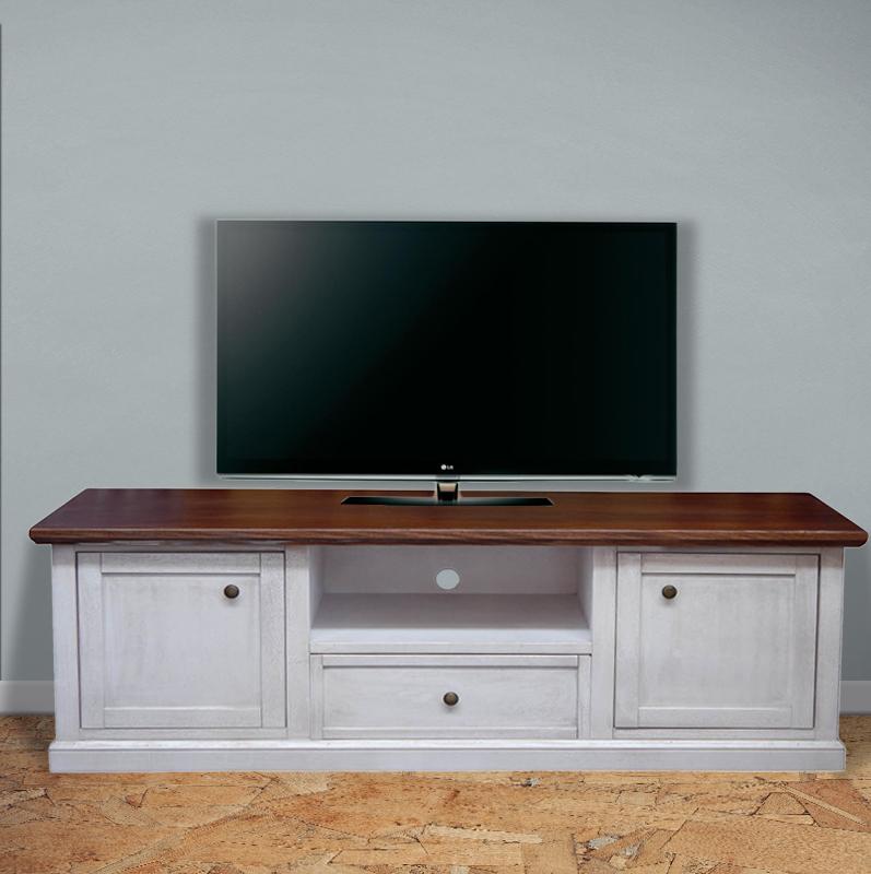 Mobile porta tv in legno shabby chic art 1003 bianco decape e noce scuro - Mobile porta tv legno ...