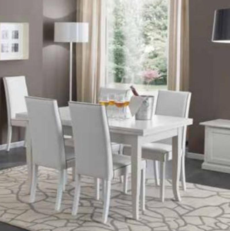 Tavolo in legno allungabile shabby chic mod duetto con 4 sedie imbottite ecopelle bianco - Tavolo con sedie offerte ...