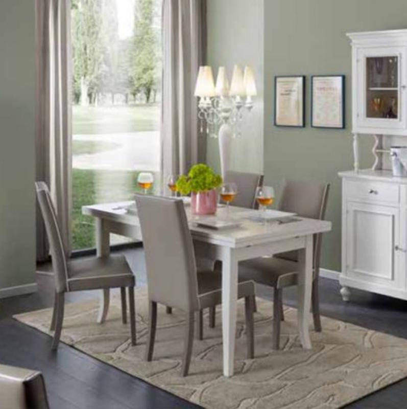 Tavolo in legno allungabile shabby chic mod duetto con 4 sedie imbottite ecopelle grigia - Tavolo con sedie offerte ...