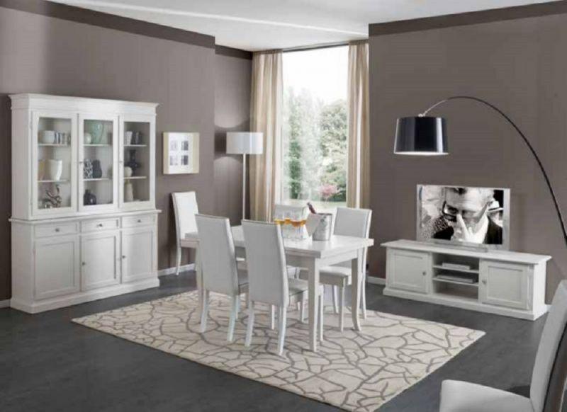 Credenza Con Alzata Bianca : Offerta tavolo allungabile sedie ecopelle credenza con