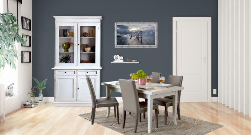 Credenza Con Vetrina Shabby : Credenza cristalliera shabby chic con tavolo e sedie imbottite