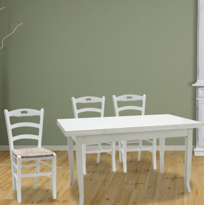 Offerta Tavolo Allungabile 4 Sedie In Legno Credenza Cristalliera E Porta Tv Shabby Chic Bianco