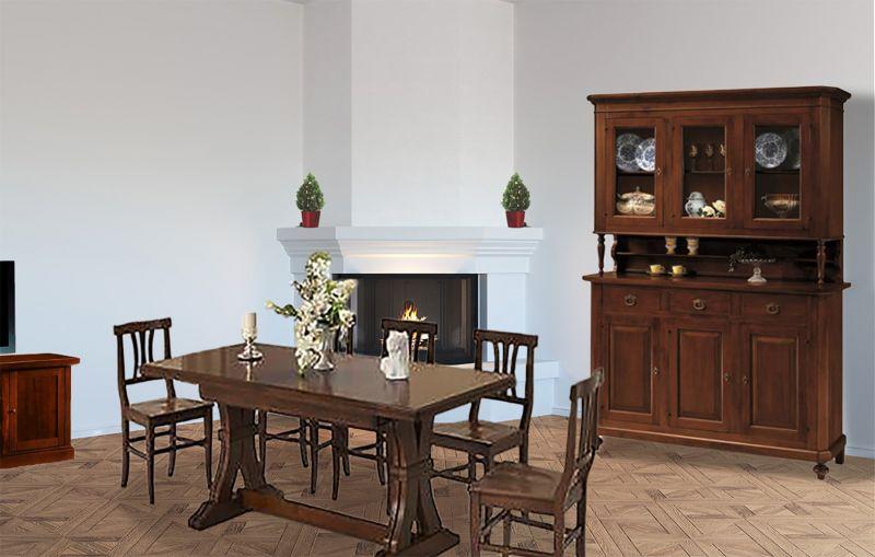 Tavolo In Legno Con 6 Sedie.Sala Arte Povera In Legno Con Cristalliera Napoletana Tavolo