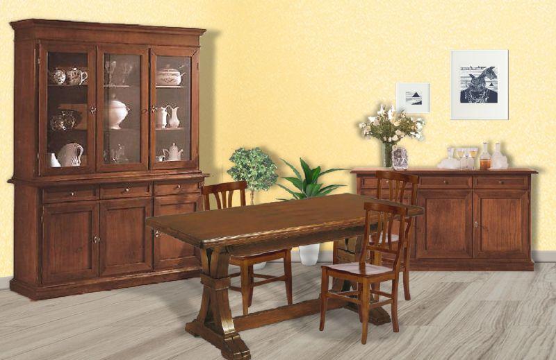 Sala arte povera in legno con cristalliera credenza for Arredare la sala
