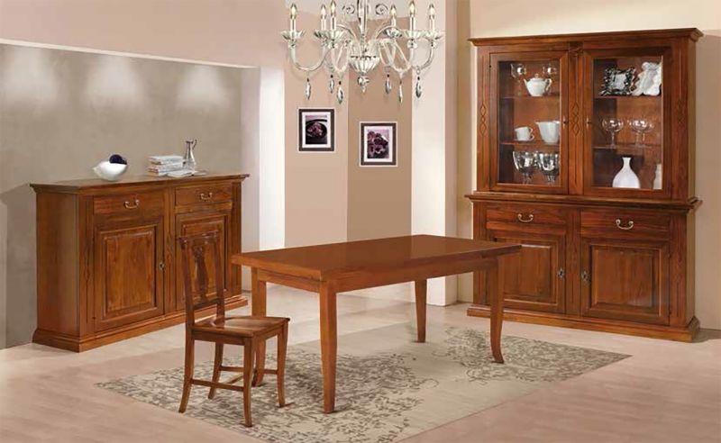 Credenza Con Cristalliera : Sala in legno finitura noce bassano con cristalliera credenza