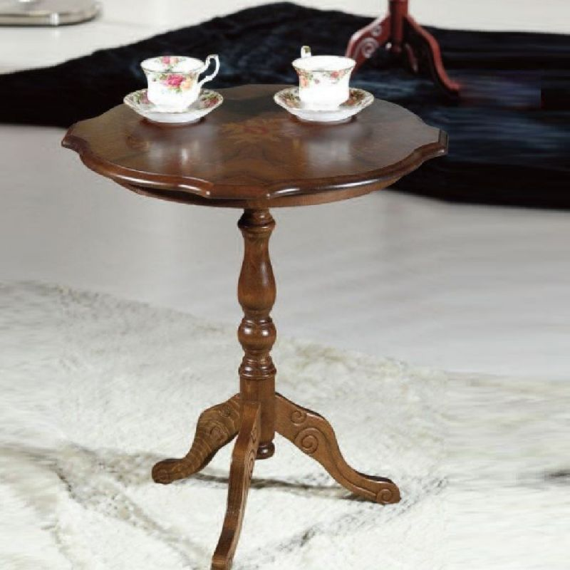 Tavolino Rotondo Fisso In Legno Noce Scuro Con Piano Sagomato E Intarsiato Noce