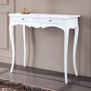 CONSOLLE IN LEGNO SHABBY CHIC BIANCO OPACO ART 265