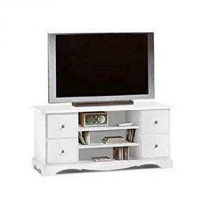 MOBILE PORTA TV IN LEGNO SHABBY CHIC ART 536  4 CASSETTI 3 VANI LACCATO BIANCO OPACO