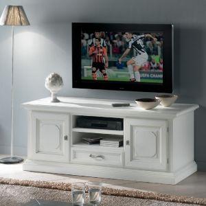 MOBILE PORTA TV SHABBY CHIC IN LEGNO LACCATO BIANCO  CON CASSETTO ART 720T
