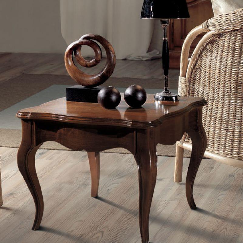 Tavolino Da Fumo Salotto In Legno Massiccio Sagomato Art 1718t Arte Povera Noce Scuro